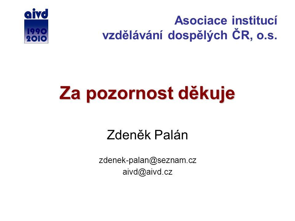 Za pozornost děkuje Zdeněk Palán zdenek-palan@seznam.cz aivd@aivd.cz Asociace institucí vzdělávání dospělých ČR, o.s.