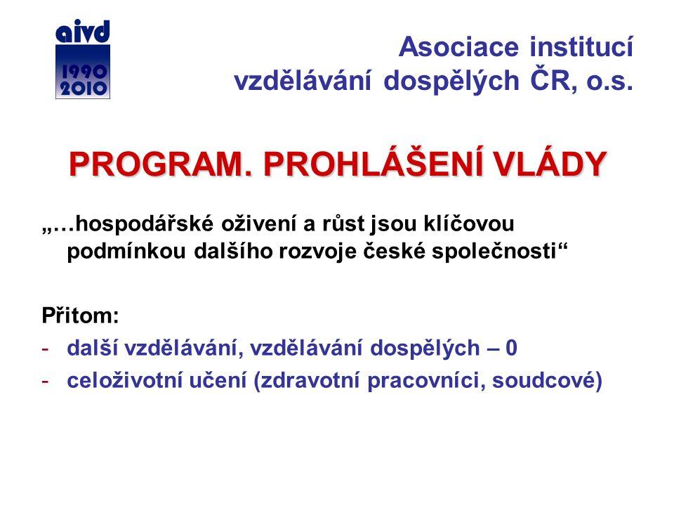 """PROGRAM. PROHLÁŠENÍ VLÁDY """"…hospodářské oživení a růst jsou klíčovou podmínkou dalšího rozvoje české společnosti"""" Přitom: -další vzdělávání, vzděláván"""