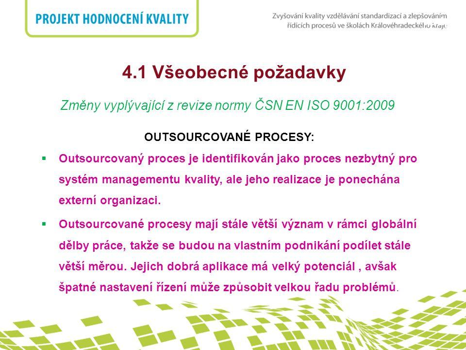 nadpis 4.1 Všeobecné požadavky Změny vyplývající z revize normy ČSN EN ISO 9001:2009 OUTSOURCOVANÉ PROCESY:  Outsourcovaný proces je identifikován ja