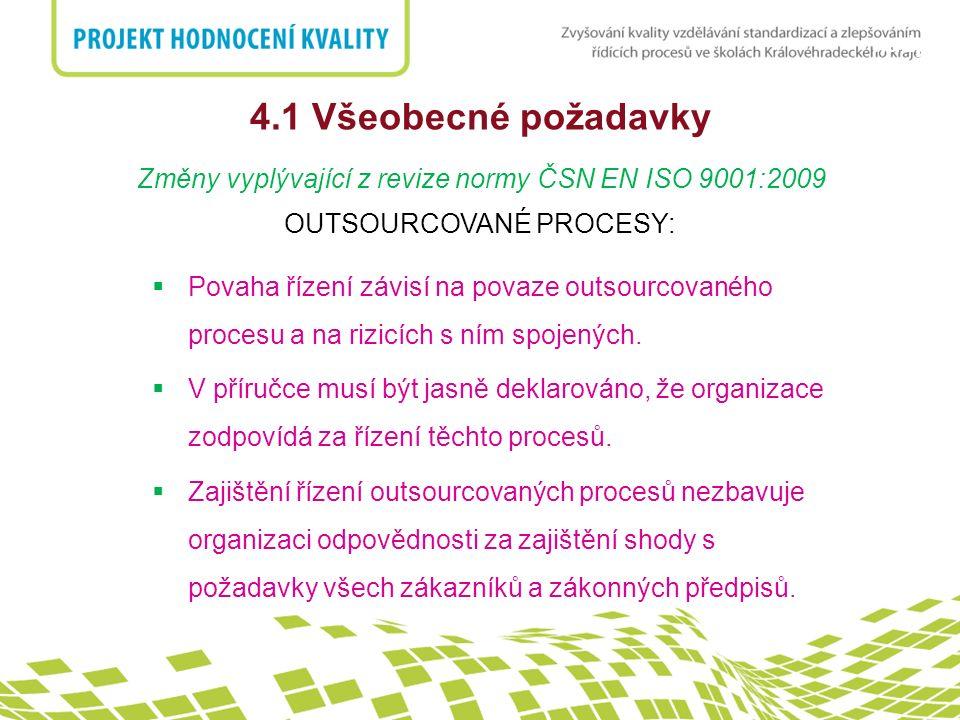 nadpis 4.1 Všeobecné požadavky Změny vyplývající z revize normy ČSN EN ISO 9001:2009 OUTSOURCOVANÉ PROCESY:  Povaha řízení závisí na povaze outsourco