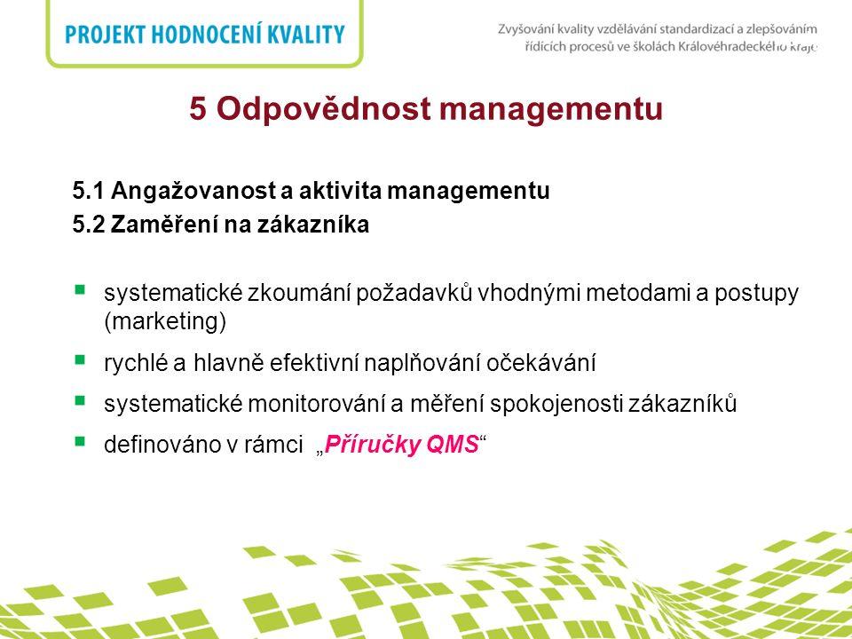 nadpis 5 Odpovědnost managementu 5.1 Angažovanost a aktivita managementu 5.2 Zaměření na zákazníka  systematické zkoumání požadavků vhodnými metodami