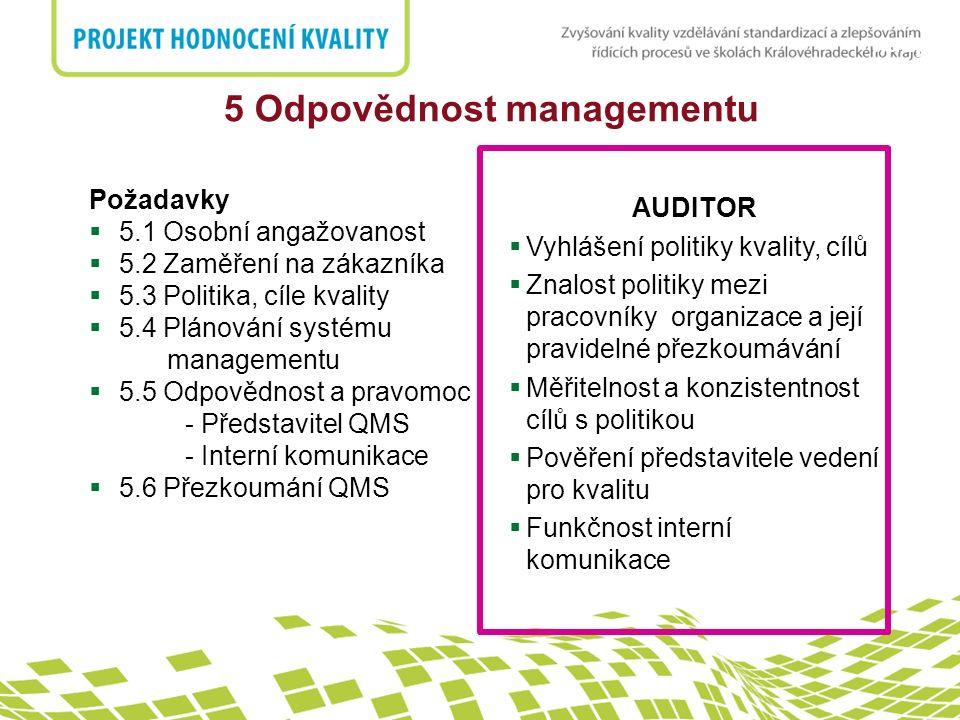 nadpis AUDITOR  Vyhlášení politiky kvality, cílů  Znalost politiky mezi pracovníky organizace a její pravidelné přezkoumávání  Měřitelnost a konzis