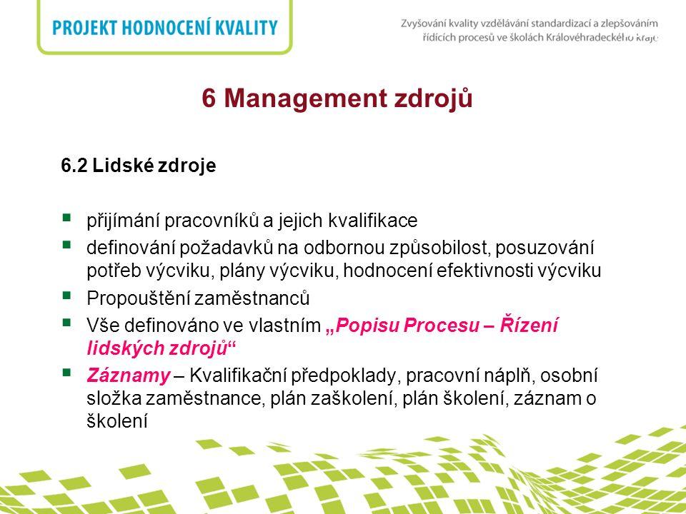 nadpis 6.2 Lidské zdroje  přijímání pracovníků a jejich kvalifikace  definování požadavků na odbornou způsobilost, posuzování potřeb výcviku, plány