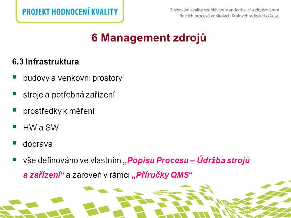 nadpis 6 Management zdrojů 6.3 Infrastruktura  budovy a venkovní prostory  stroje a potřebná zařízení  prostředky k měření  HW a SW  doprava  vš