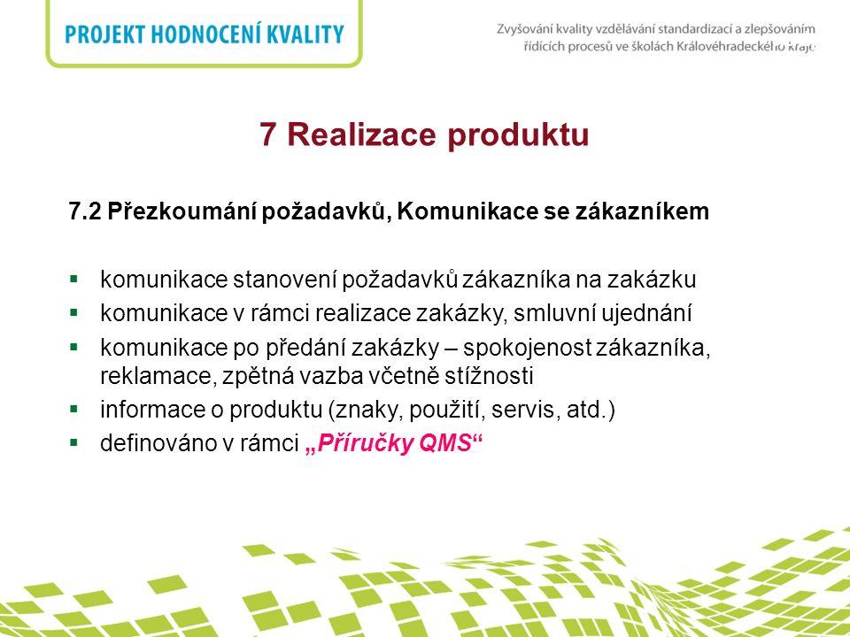 nadpis 7 Realizace produktu 7.2 Přezkoumání požadavků, Komunikace se zákazníkem  komunikace stanovení požadavků zákazníka na zakázku  komunikace v r