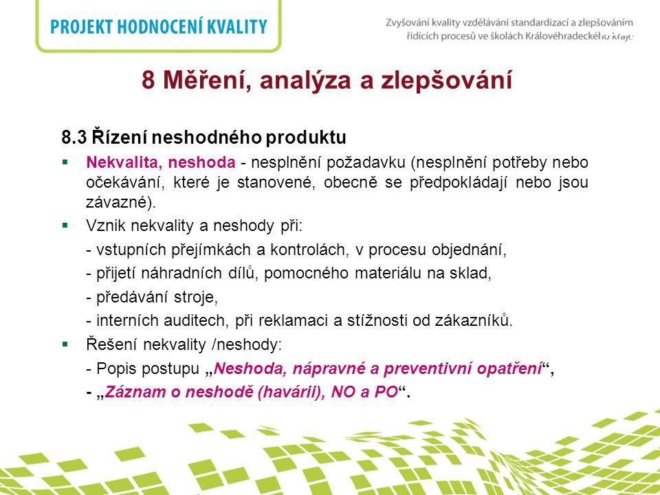 nadpis 8 Měření, analýza a zlepšování 8.3 Řízení neshodného produktu  Nekvalita, neshoda - nesplnění požadavku (nesplnění potřeby nebo očekávání, kte