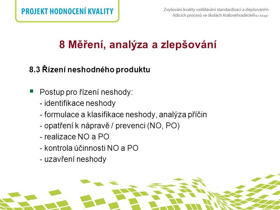 nadpis 8 Měření, analýza a zlepšování 8.3 Řízení neshodného produktu  Postup pro řízení neshody: - identifikace neshody - formulace a klasifikace nes