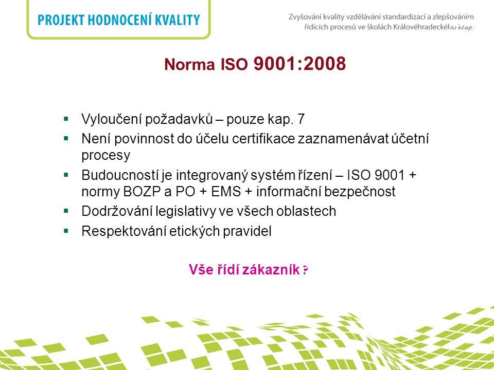nadpis Norma ISO 9001:2008  Vyloučení požadavků – pouze kap. 7  Není povinnost do účelu certifikace zaznamenávat účetní procesy  Budoucností je int