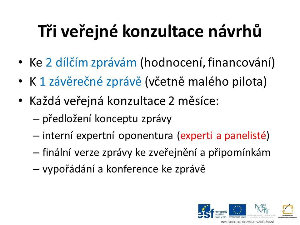 Tři veřejné konzultace návrhů Ke 2 dílčím zprávám (hodnocení, financování) K 1 závěrečné zprávě (včetně malého pilota) Každá veřejná konzultace 2 měsí
