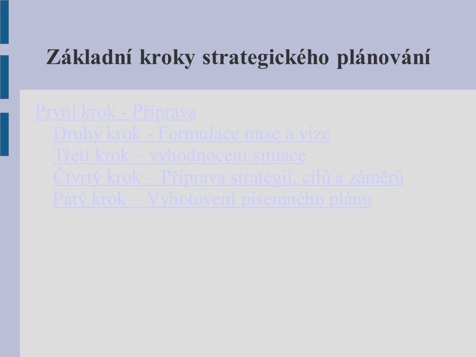 Základní kroky strategického plánování První krok - Příprava Druhý krok - Formulace mise a vize Třetí krok – vyhodnocení situace Čtvrtý krok – Příprava strategií, cílů a záměrů Pátý krok – Vyhotovení písemného plánu