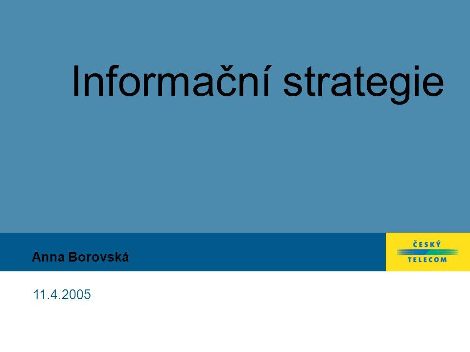 11.4.2005 12 Akční plán - přehled strategických cílů a iniciativ Projekty/ iniciativyPodprojekty P1IT Governance IT Governance koncept Řízení dodavatelů a outsourcingu Řízení integrace Knowledge management P2Datová kvalita Čištění dat, Monitorování datových toků TIQM metodika P3Bezpečnost a dostupnost Rozvoj bezpečnosti podle ISO 1779 Shoda se SOX požadavky Disaster recovery Single Sign On P4Inovace řešení Koncepce aplikační podpory procesních domén, Strategie infrastruktury P5Rozvoj lidských zdrojů Zdroje pro IT Governance Zdroje pro řízení integrace Monitoring znalostí pracovníků v klíčových oblastech