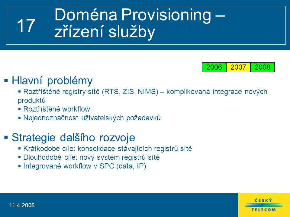 11.4.2005 17 Doména Provisioning – zřízení služby  Hlavní problémy  Roztříštěné registry sítě (RTS, ZIS, NIMS) – komplikovaná integrace nových produktů  Roztříštěné workflow  Nejednoznačnost uživatelských požadavků  Strategie dalšího rozvoje  Krátkodobé cíle: konsolidace stávajících registrů sítě  Dlouhodobé cíle: nový systém registrů sítě  Integrované workflow v SPC (data, IP) 200620072008