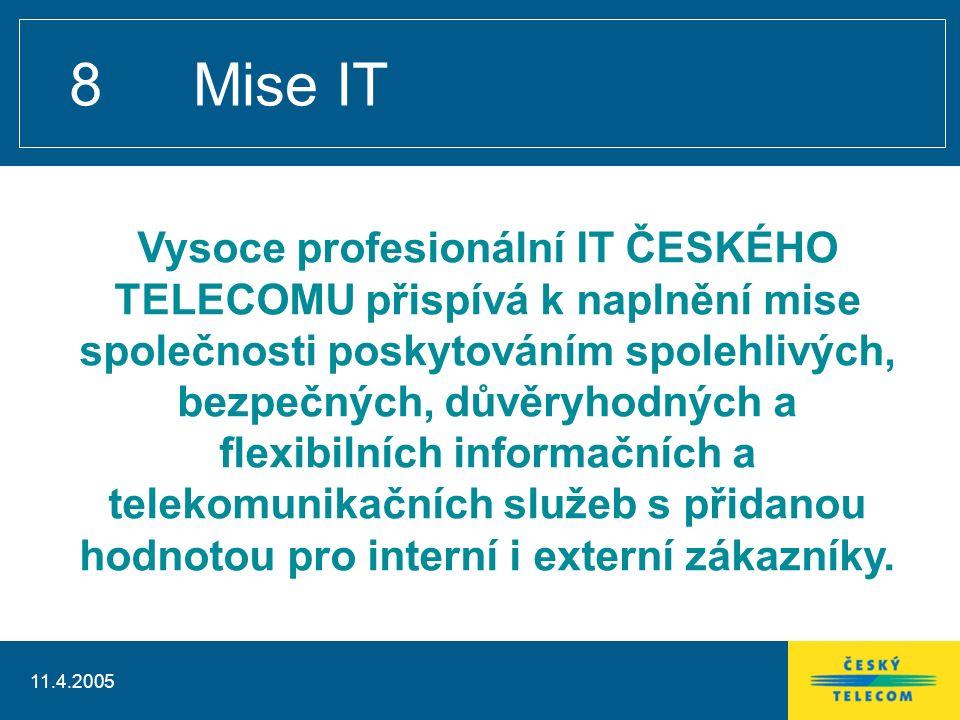 11.4.2005 8 Mise IT Vysoce profesionální IT ČESKÉHO TELECOMU přispívá k naplnění mise společnosti poskytováním spolehlivých, bezpečných, důvěryhodných a flexibilních informačních a telekomunikačních služeb s přidanou hodnotou pro interní i externí zákazníky.