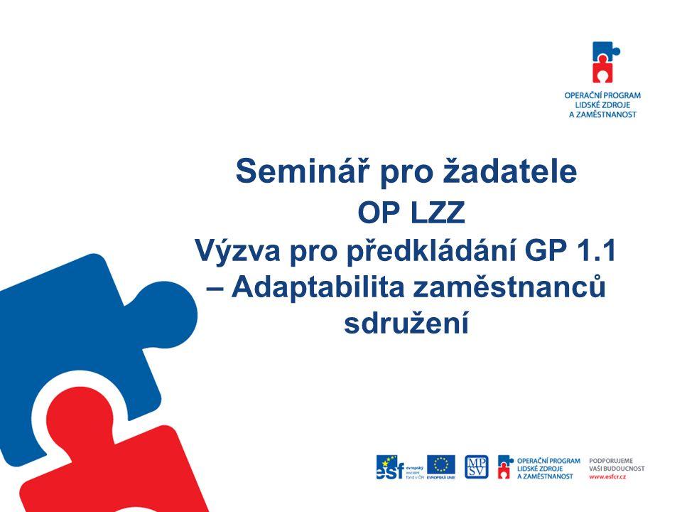 Seminář pro žadatele OP LZZ Výzva pro předkládání GP 1.1 – Adaptabilita zaměstnanců sdružení