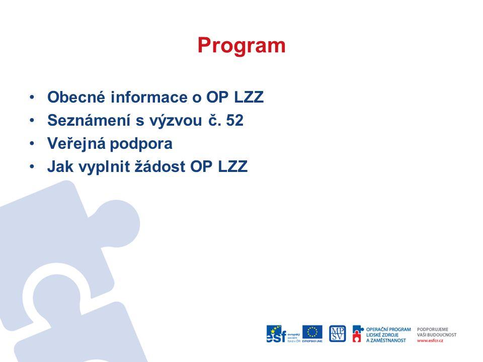 Program Obecné informace o OP LZZ Seznámení s výzvou č.