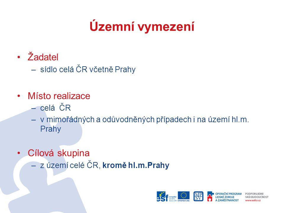 Územní vymezení Žadatel –sídlo celá ČR včetně Prahy Místo realizace –celá ČR –v mimořádných a odůvodněných případech i na území hl.m.