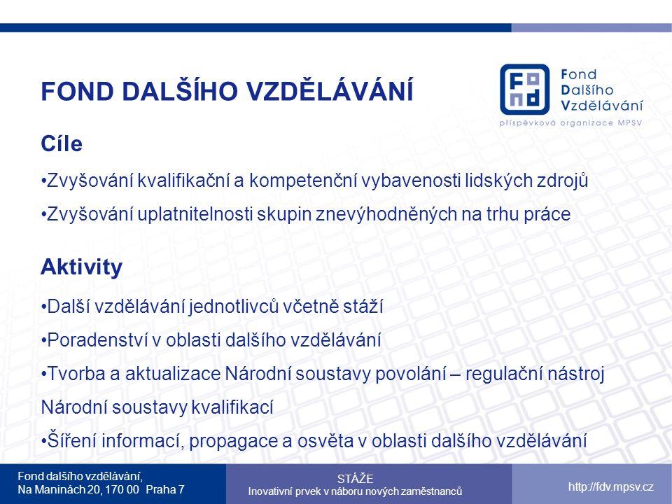 Fond dalšího vzdělávání, Na Maninách 20, 170 00 Praha 7 http://fdv.mpsv.cz FOND DALŠÍHO VZDĚLÁVÁNÍ Cíle Zvyšování kvalifikační a kompetenční vybavenosti lidských zdrojů Zvyšování uplatnitelnosti skupin znevýhodněných na trhu práce Aktivity Další vzdělávání jednotlivců včetně stáží Poradenství v oblasti dalšího vzdělávání Tvorba a aktualizace Národní soustavy povolání – regulační nástroj Národní soustavy kvalifikací Šíření informací, propagace a osvěta v oblasti dalšího vzdělávání STÁŽE Inovativní prvek v náboru nových zaměstnanců
