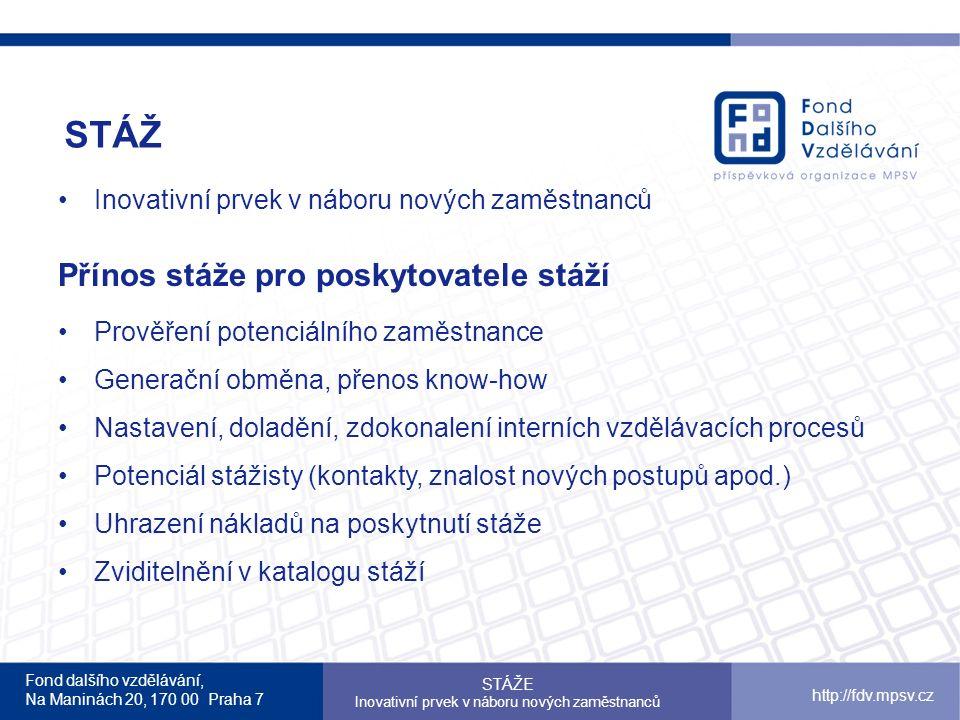 Fond dalšího vzdělávání, Na Maninách 20, 170 00 Praha 7 http://fdv.mpsv.cz STÁŽ STÁŽE Inovativní prvek v náboru nových zaměstnanců Přínos stáže pro po