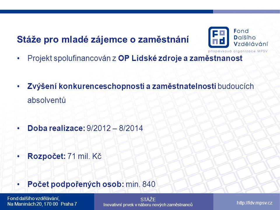 Fond dalšího vzdělávání, Na Maninách 20, 170 00 Praha 7 http://fdv.mpsv.cz Stáže pro mladé zájemce o zaměstnání STÁŽE Inovativní prvek v náboru nových