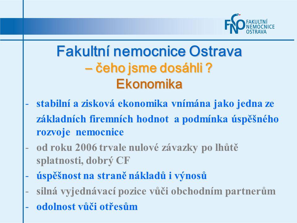 Fakultní nemocnice Ostrava – čeho jsme dosáhli ? Ekonomika -stabilní a zisková ekonomika vnímána jako jedna ze základních firemních hodnot a podmínka