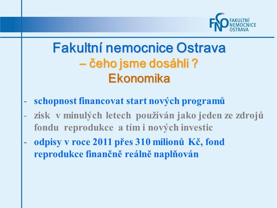 Fakultní nemocnice Ostrava – čeho jsme dosáhli ? Ekonomika -schopnost financovat start nových programů -zisk v minulých letech používán jako jeden ze