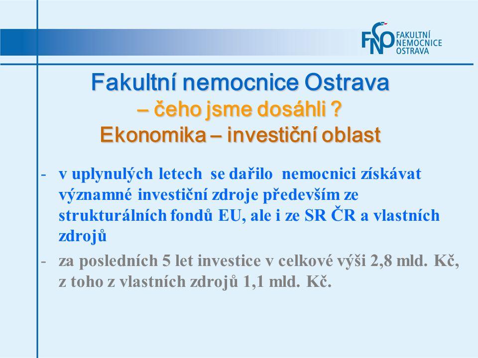 Fakultní nemocnice Ostrava – čeho jsme dosáhli ? Ekonomika – investiční oblast -v uplynulých letech se dařilo nemocnici získávat významné investiční z