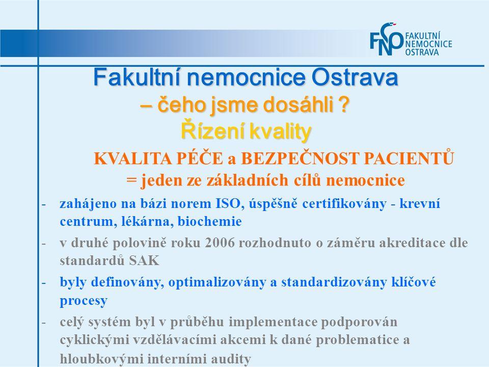 Fakultní nemocnice Ostrava – čeho jsme dosáhli ? Řízení kvality KVALITA PÉČE a BEZPEČNOST PACIENTŮ = jeden ze základních cílů nemocnice -zahájeno na b
