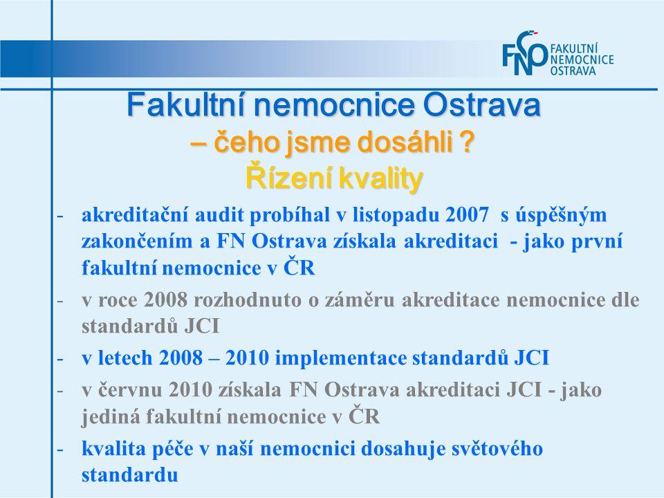 Fakultní nemocnice Ostrava – čeho jsme dosáhli ? Řízení kvality -akreditační audit probíhal v listopadu 2007 s úspěšným zakončením a FN Ostrava získal