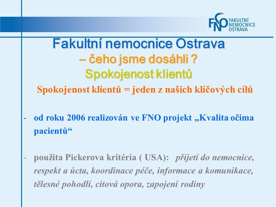 Fakultní nemocnice Ostrava – čeho jsme dosáhli ? Spokojenost klientů Spokojenost klientů = jeden z našich klíčových cílů -od roku 2006 realizován ve F
