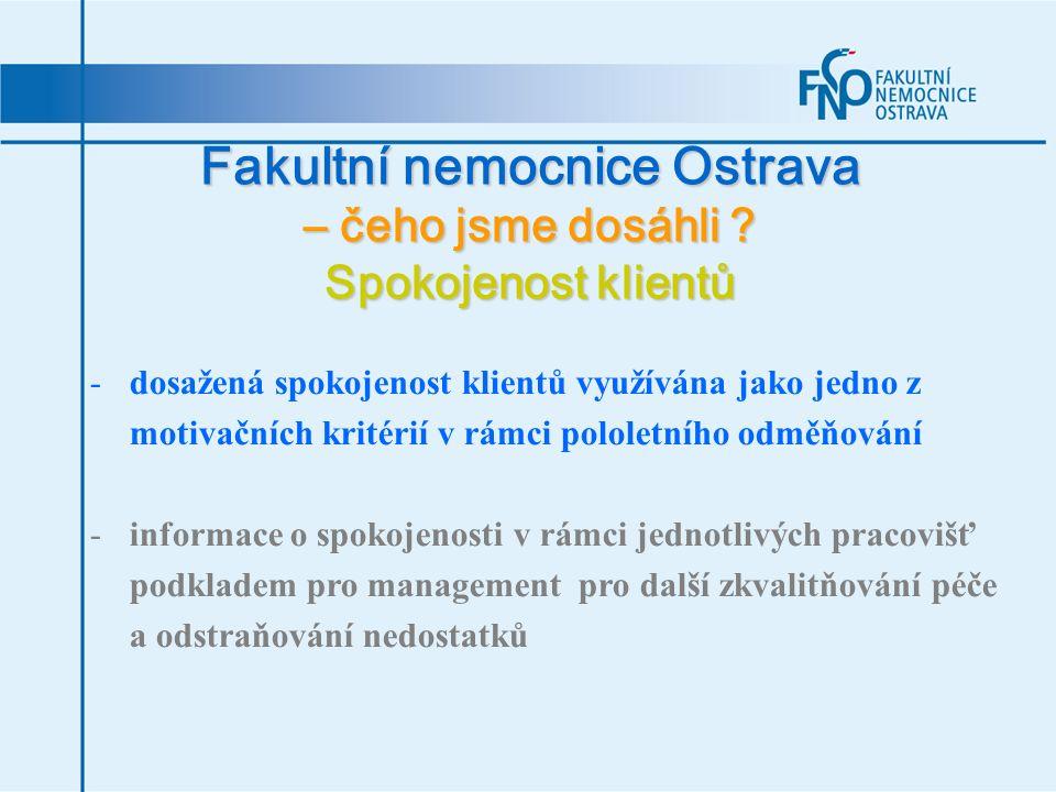 Fakultní nemocnice Ostrava – čeho jsme dosáhli ? Spokojenost klientů -dosažená spokojenost klientů využívána jako jedno z motivačních kritérií v rámci