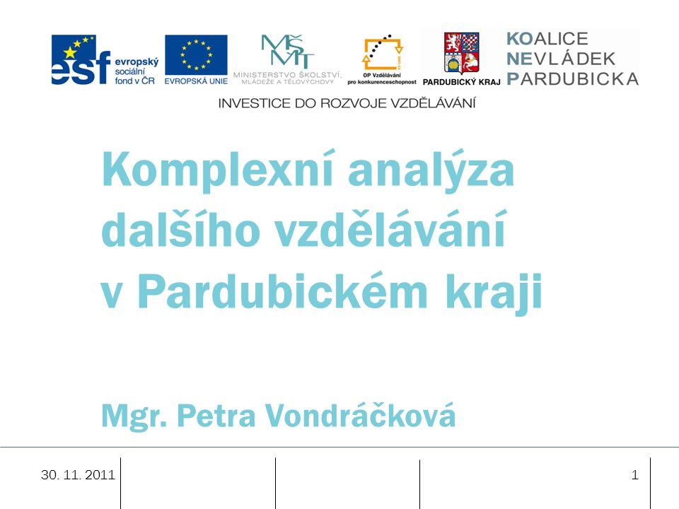 30. 11. 20111 Komplexní analýza dalšího vzdělávání v Pardubickém kraji Mgr. Petra Vondráčková