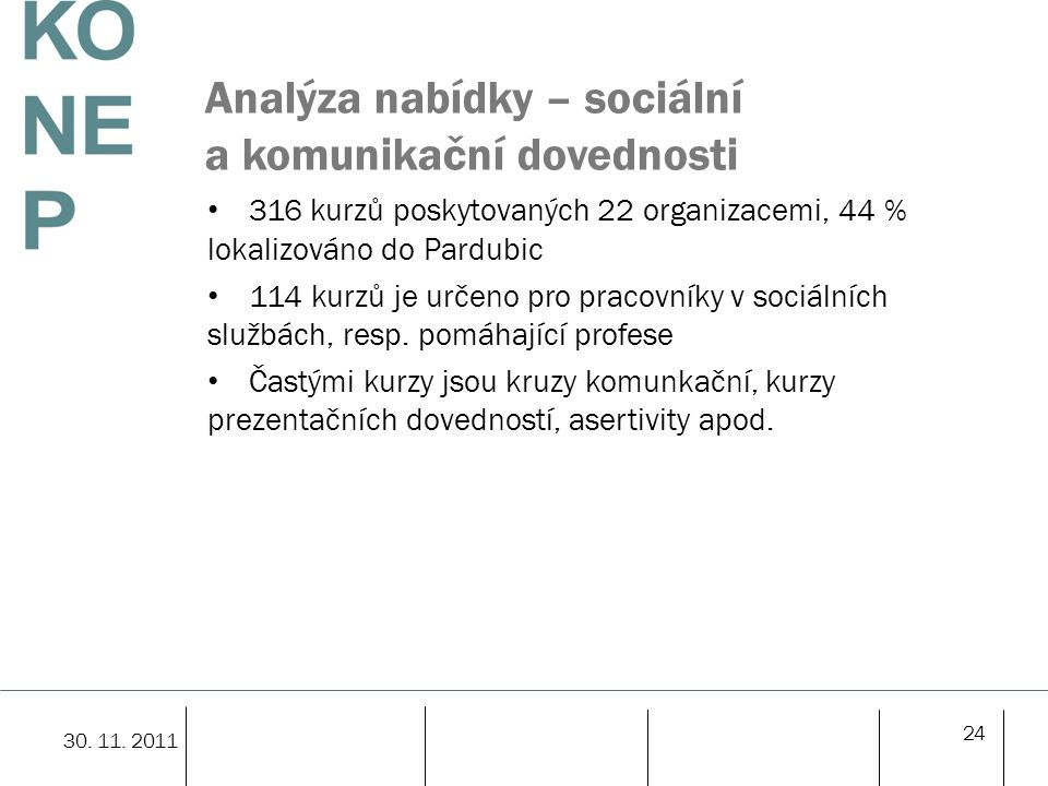 Analýza nabídky – sociální a komunikační dovednosti 316 kurzů poskytovaných 22 organizacemi, 44 % lokalizováno do Pardubic 114 kurzů je určeno pro pracovníky v sociálních službách, resp.