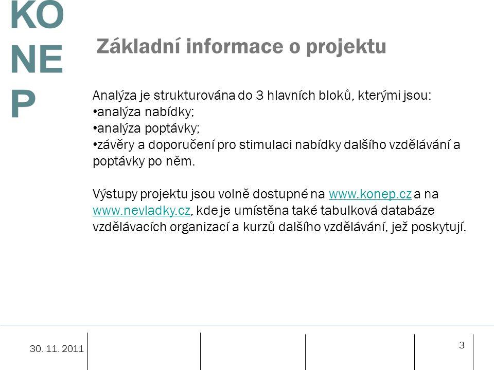 3 Základní informace o projektu 30. 11. 2011 Analýza je strukturována do 3 hlavních bloků, kterými jsou: analýza nabídky; analýza poptávky; závěry a d