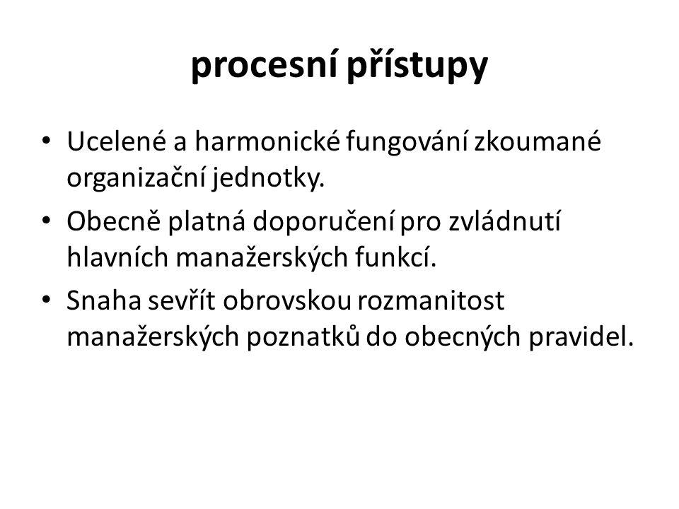 procesní přístupy Ucelené a harmonické fungování zkoumané organizační jednotky.