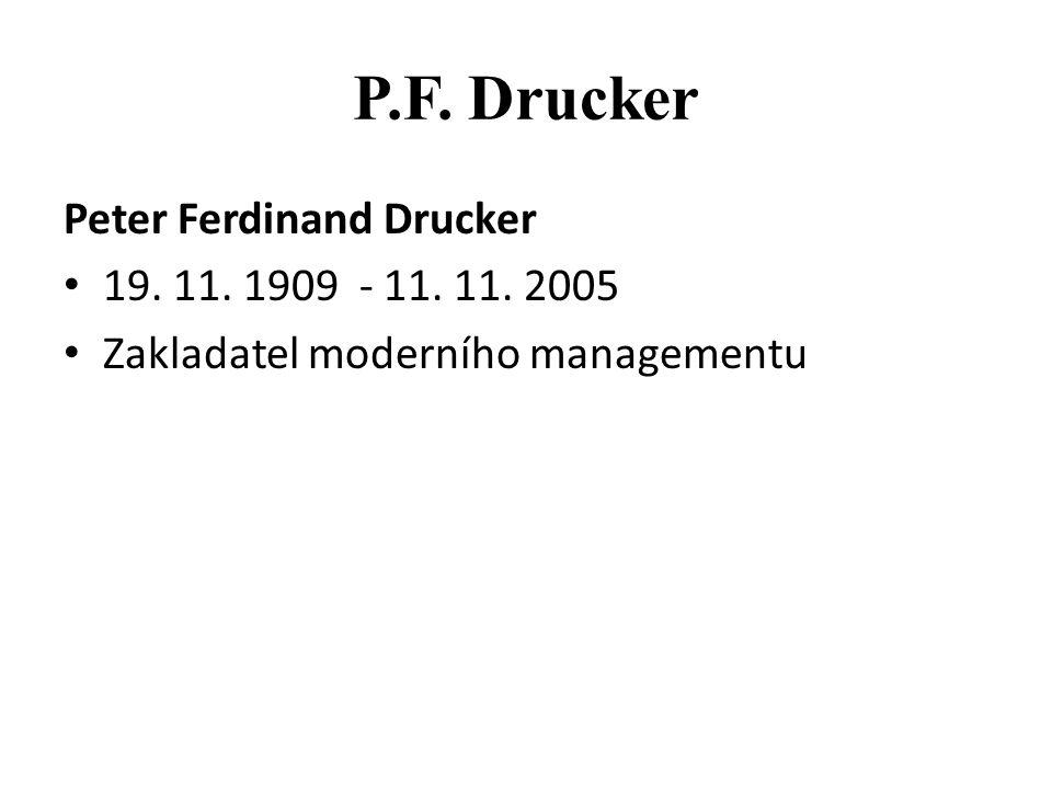 P.F. Drucker Peter Ferdinand Drucker 19. 11. 1909 - 11. 11. 2005 Zakladatel moderního managementu