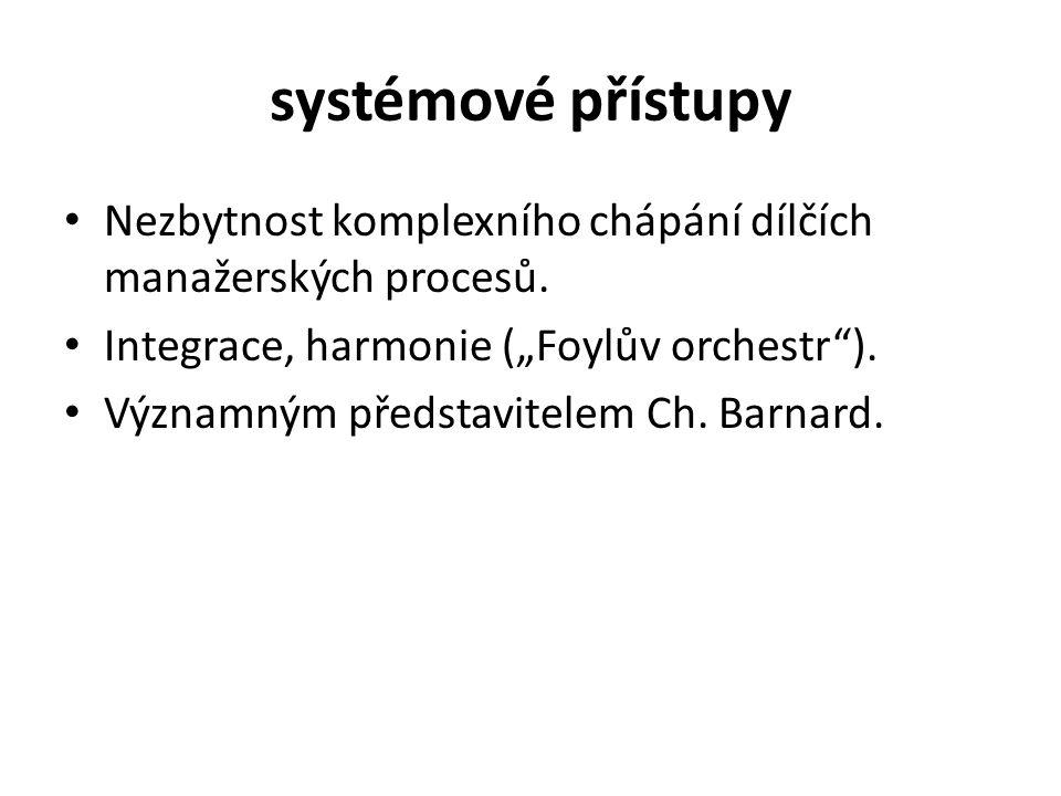 systémové přístupy Nezbytnost komplexního chápání dílčích manažerských procesů.