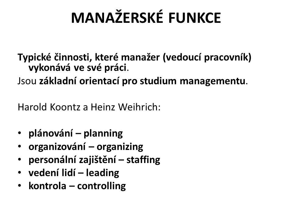 MANAŽERSKÉ FUNKCE Typické činnosti, které manažer (vedoucí pracovník) vykonává ve své práci.