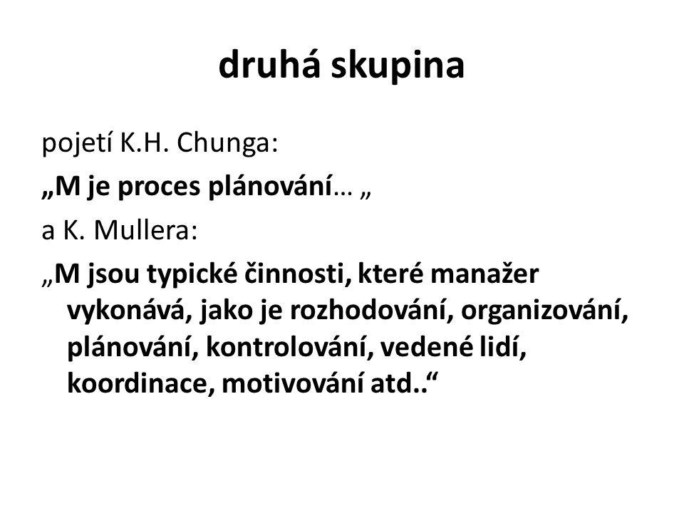 """druhá skupina pojetí K.H. Chunga: """"M je proces plánování… """" a K."""