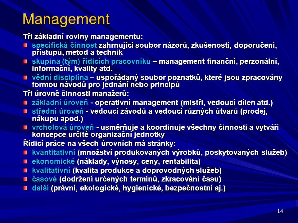 14 Management Tři základní roviny managementu: specifická činnost zahrnující soubor názorů, zkušeností, doporučení, přístupů, metod a technik skupina (tým) řídicích pracovníků – management finanční, perzonální, informační, kvality atd.