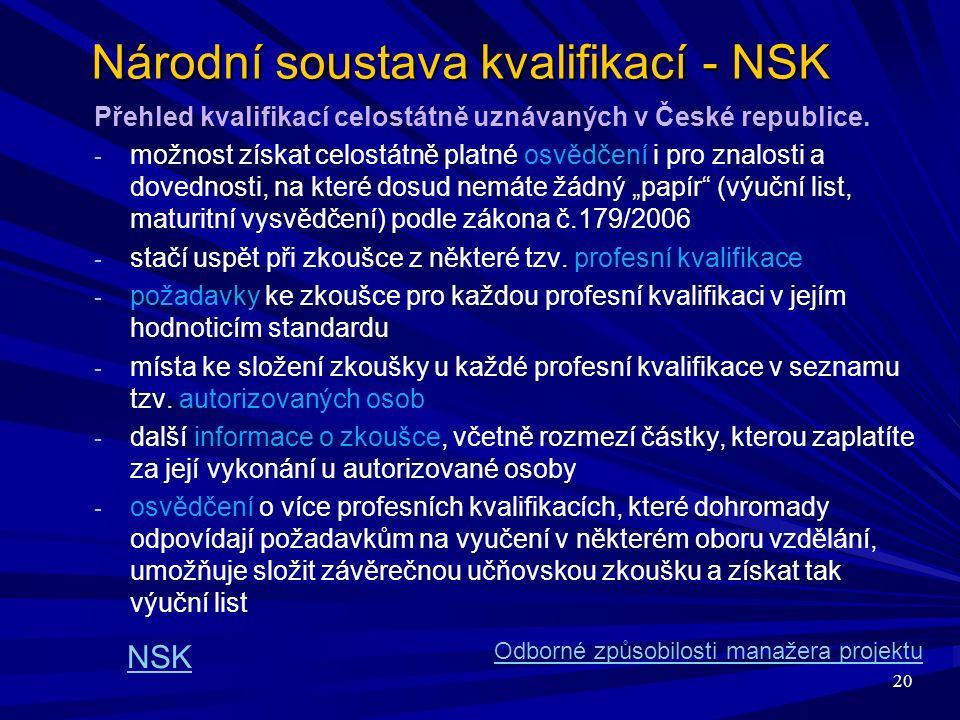 20 Národní soustava kvalifikací - NSK Přehled kvalifikací celostátně uznávaných v České republice.