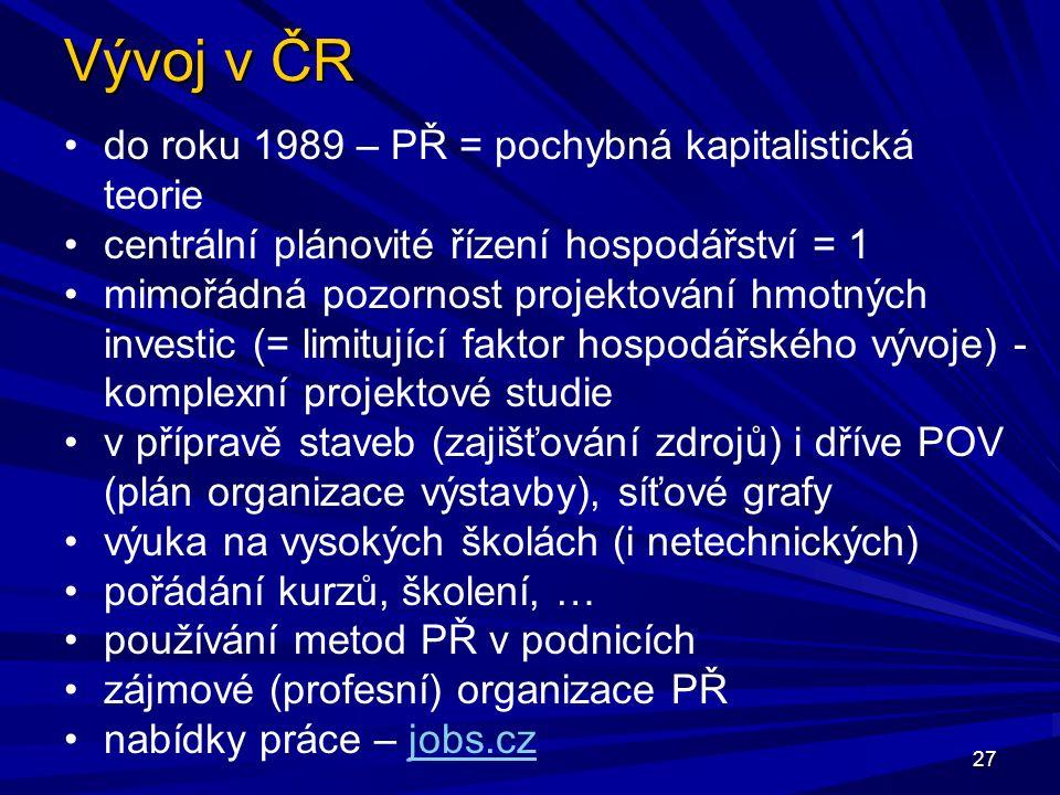Vývoj v ČR 27 do roku 1989 – PŘ = pochybná kapitalistická teorie centrální plánovité řízení hospodářství = 1 mimořádná pozornost projektování hmotných investic (= limitující faktor hospodářského vývoje) - komplexní projektové studie v přípravě staveb (zajišťování zdrojů) i dříve POV (plán organizace výstavby), síťové grafy výuka na vysokých školách (i netechnických) pořádání kurzů, školení, … používání metod PŘ v podnicích zájmové (profesní) organizace PŘ nabídky práce – jobs.czjobs.cz