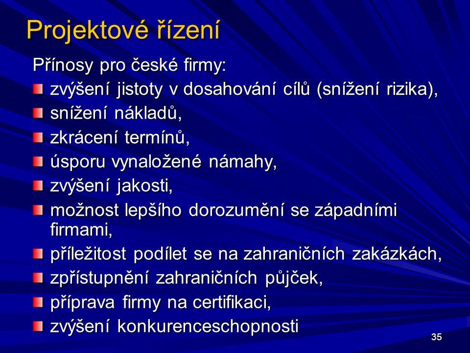 Projektové řízení Přínosy pro české firmy: zvýšení jistoty v dosahování cílů (snížení rizika), snížení nákladů, zkrácení termínů, úsporu vynaložené námahy, zvýšení jakosti, možnost lepšího dorozumění se západními firmami, příležitost podílet se na zahraničních zakázkách, zpřístupnění zahraničních půjček, příprava firmy na certifikaci, zvýšení konkurenceschopnosti 35