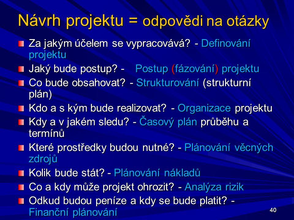 Návrh projektu = odpovědi na otázky Za jakým účelem se vypracovává.