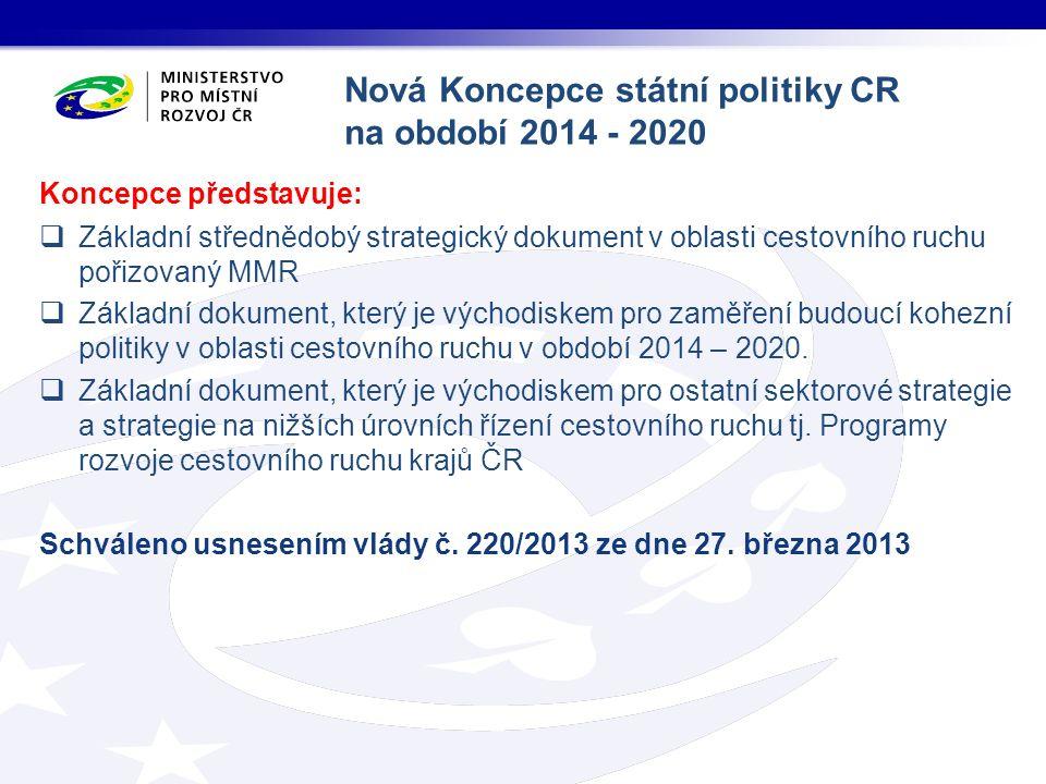 Koncepce představuje:  Základní střednědobý strategický dokument v oblasti cestovního ruchu pořizovaný MMR  Základní dokument, který je východiskem pro zaměření budoucí kohezní politiky v oblasti cestovního ruchu v období 2014 – 2020.