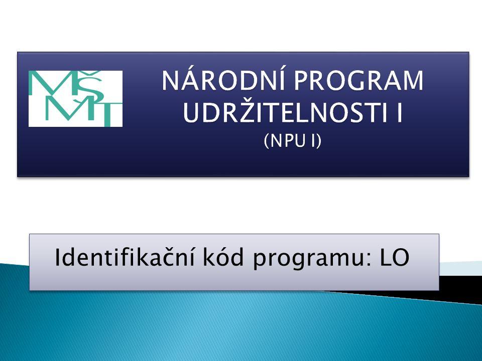 Identifikační kód programu: LO Identifikační kód programu: LO