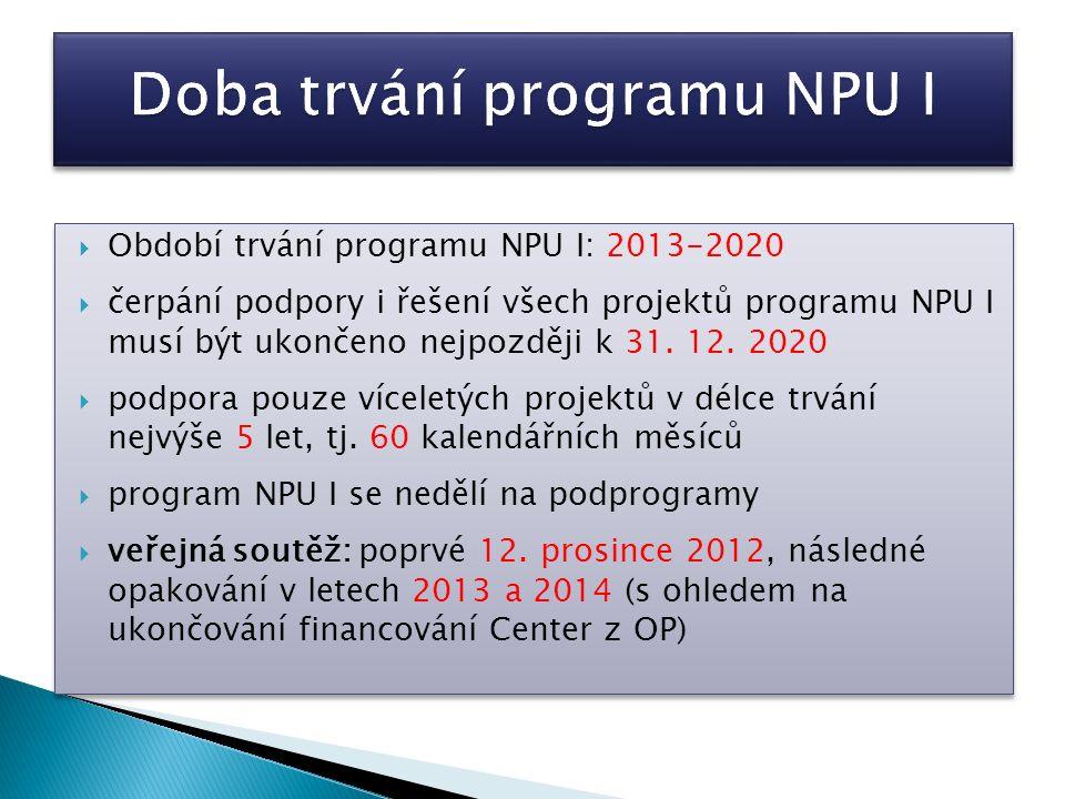  Podporu na projekt v programu NPU I mohou obdržet pouze uchazeči, kteří splňují všechny podmínky programu NPU I vyhlášené ve veřejné soutěži a současně všechny podmínky způsobilosti dané § 18 Zákona.