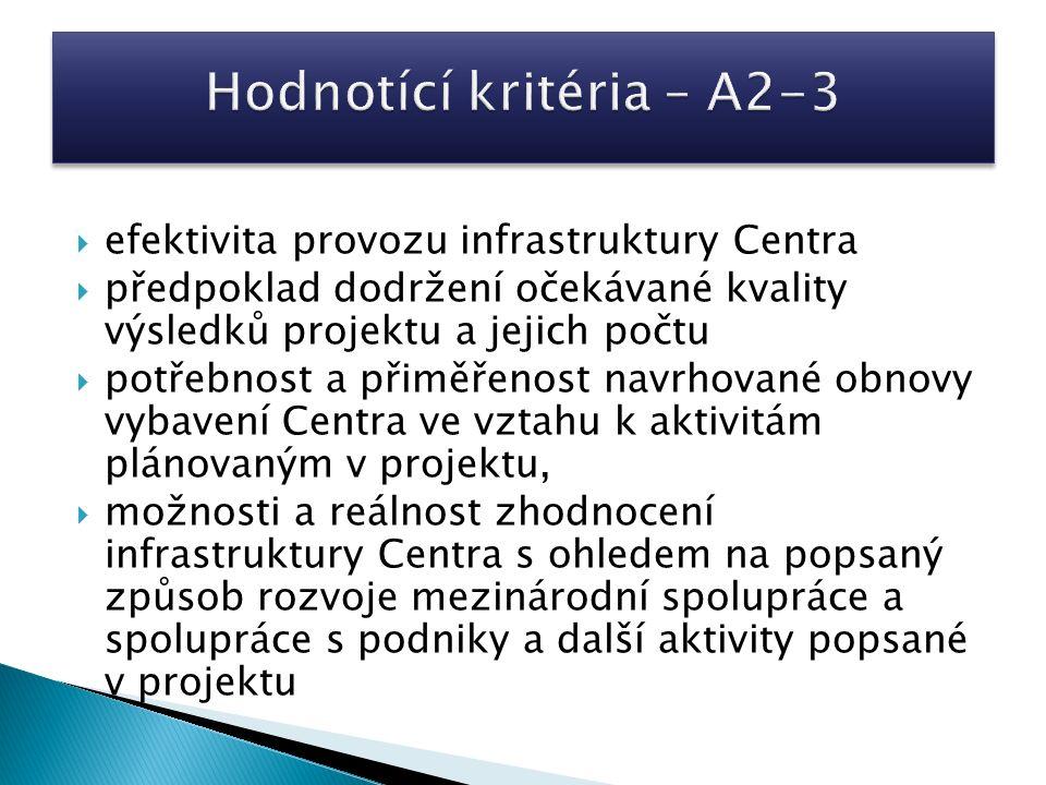  efektivita provozu infrastruktury Centra  předpoklad dodržení očekávané kvality výsledků projektu a jejich počtu  potřebnost a přiměřenost navrhované obnovy vybavení Centra ve vztahu k aktivitám plánovaným v projektu,  možnosti a reálnost zhodnocení infrastruktury Centra s ohledem na popsaný způsob rozvoje mezinárodní spolupráce a spolupráce s podniky a další aktivity popsané v projektu