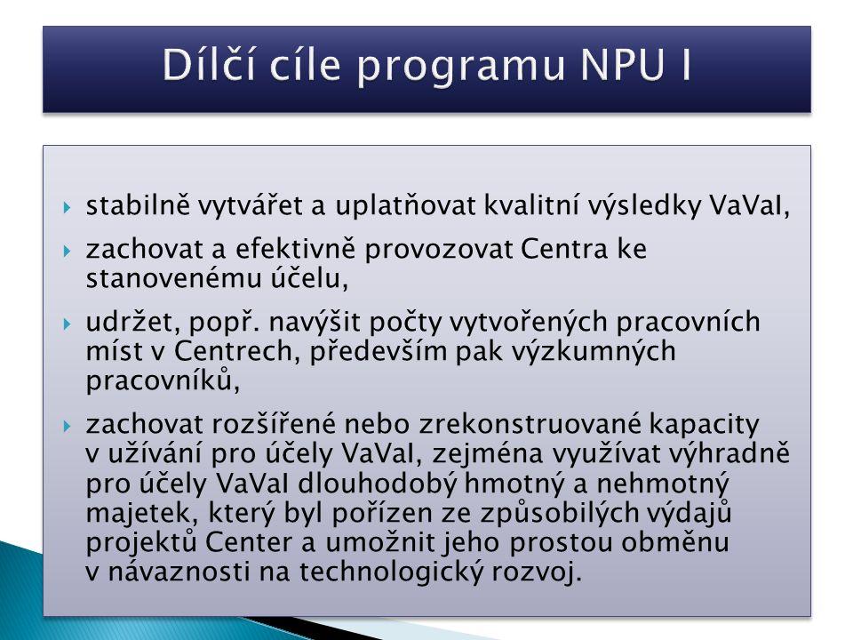  stabilně vytvářet a uplatňovat kvalitní výsledky VaVaI,  zachovat a efektivně provozovat Centra ke stanovenému účelu,  udržet, popř.