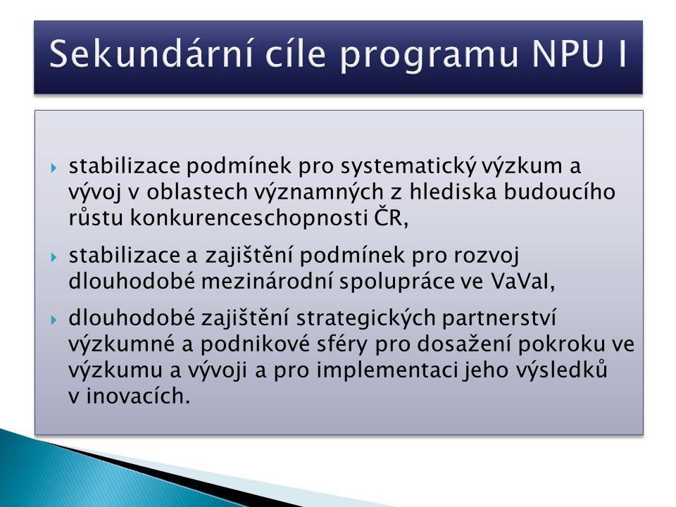 stabilizace podmínek pro systematický výzkum a vývoj v oblastech významných z hlediska budoucího růstu konkurenceschopnosti ČR,  stabilizace a zajištění podmínek pro rozvoj dlouhodobé mezinárodní spolupráce ve VaVaI,  dlouhodobé zajištění strategických partnerství výzkumné a podnikové sféry pro dosažení pokroku ve výzkumu a vývoji a pro implementaci jeho výsledků v inovacích.