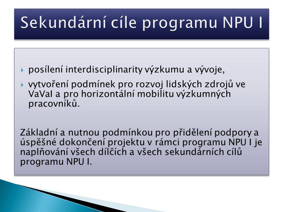  posílení interdisciplinarity výzkumu a vývoje,  vytvoření podmínek pro rozvoj lidských zdrojů ve VaVaI a pro horizontální mobilitu výzkumných pracovníků.